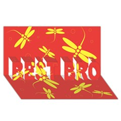 Red And Yellow Dragonflies Pattern Best Bro 3d Greeting Card (8x4)  by Valentinaart
