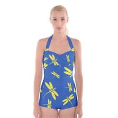 Blue And Yellow Dragonflies Pattern Boyleg Halter Swimsuit