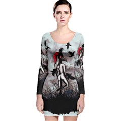 Dancing With Crows Long Sleeve Velvet Bodycon Dress by lvbart
