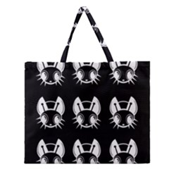 White And Black Fireflies  Zipper Large Tote Bag by Valentinaart