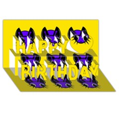 Blue and yellow fireflies Happy Birthday 3D Greeting Card (8x4)