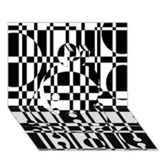 Black And White Pattern Apple 3d Greeting Card (7x5)  by Valentinaart
