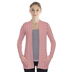 Mod Pink Green Pattern Women s Open Front Pockets Cardigan(p194) by BrightVibesDesign