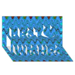Blue Wavy Squiggles Best Wish 3d Greeting Card (8x4)  by BrightVibesDesign