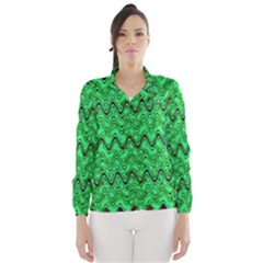 Green Wavy Squiggles Wind Breaker (women) by BrightVibesDesign