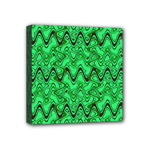 Green Wavy Squiggles Mini Canvas 4  x 4  by BrightVibesDesign