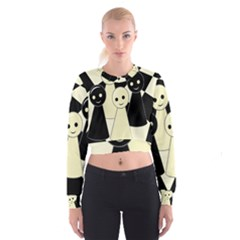 Chess Pieces Women s Cropped Sweatshirt by Valentinaart