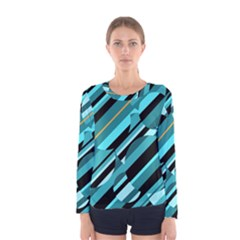 Blue Abstraction Women s Long Sleeve Tee by Valentinaart