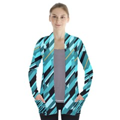 Blue abstraction Women s Open Front Pockets Cardigan(P194) by Valentinaart