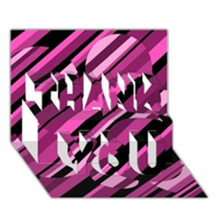 Magenta pattern THANK YOU 3D Greeting Card (7x5)  by Valentinaart