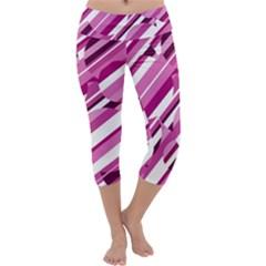 Magenta Pattern Capri Yoga Leggings
