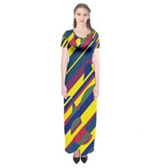 Colorful Pattern Short Sleeve Maxi Dress
