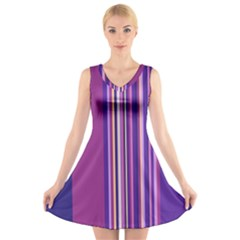 Striped Color V Neck Sleeveless Skater Dress by olgart