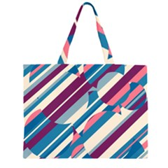 Blue and pink pattern Large Tote Bag by Valentinaart