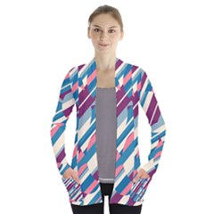 Blue and pink pattern Women s Open Front Pockets Cardigan(P194) by Valentinaart