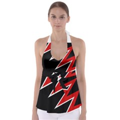 Black And Red Simple Design Babydoll Tankini Top