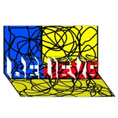 Yellow Abstract Pattern Believe 3d Greeting Card (8x4)  by Valentinaart