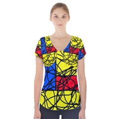 Yellow abstract pattern Short Sleeve Front Detail Top by Valentinaart