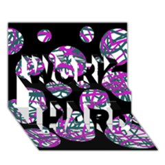 Purple Decorative Design Work Hard 3d Greeting Card (7x5)  by Valentinaart