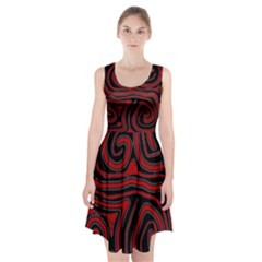Red and black abstraction Racerback Midi Dress by Valentinaart