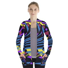 Decorative abstract design Women s Open Front Pockets Cardigan(P194) by Valentinaart