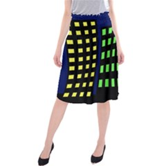 Colorful Abstract City Landscape Midi Beach Skirt by Valentinaart