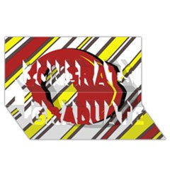 Red And Yellow Design Congrats Graduate 3d Greeting Card (8x4)  by Valentinaart