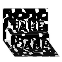 Black And White Pattern Take Care 3d Greeting Card (7x5)  by Valentinaart