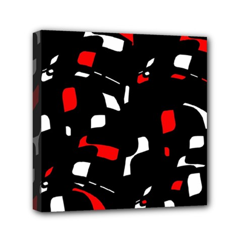 Red, black and white pattern Mini Canvas 6  x 6