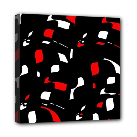 Red, Black And White Pattern Mini Canvas 8  X 8  by Valentinaart