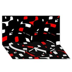 Red, Black And White Pattern Twin Heart Bottom 3d Greeting Card (8x4)  by Valentinaart