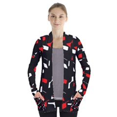 Red, black and white pattern Women s Open Front Pockets Cardigan(P194) by Valentinaart