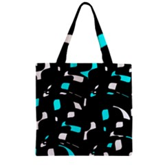 Blue, Black And White Pattern Zipper Grocery Tote Bag by Valentinaart