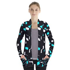Blue, Black And White Pattern Women s Open Front Pockets Cardigan(p194) by Valentinaart