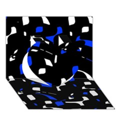 Blue, Black And White  Pattern Heart 3d Greeting Card (7x5)  by Valentinaart