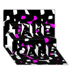 Magenta, Black And White Pattern Take Care 3d Greeting Card (7x5)  by Valentinaart