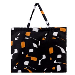 Orange, Black And White Pattern Zipper Large Tote Bag by Valentinaart