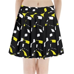 Yellow, Black And White Pattern Pleated Mini Mesh Skirt by Valentinaart