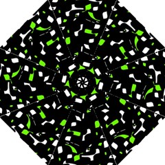 Green, Black And White Pattern Straight Umbrellas by Valentinaart