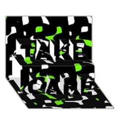 Green, Black And White Pattern Take Care 3d Greeting Card (7x5)  by Valentinaart