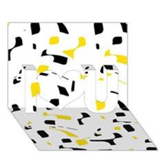 Yellow, Black And White Pattern I Love You 3d Greeting Card (7x5)  by Valentinaart