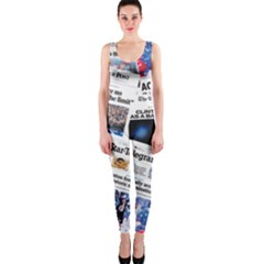 Hillary 2016 Historic Newspaper Collage Onepiece Catsuit by blueamerica