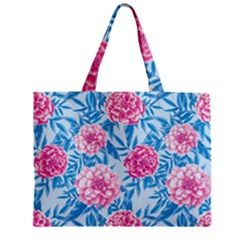 Blue & Pink Floral Mini Tote Bag by TanyaDraws