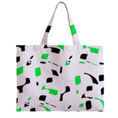 Green, Black And White Pattern Zipper Mini Tote Bag by Valentinaart