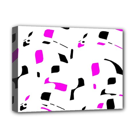 Magenta, Black And White Pattern Deluxe Canvas 16  X 12   by Valentinaart