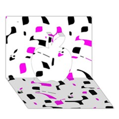 Magenta, Black And White Pattern Apple 3d Greeting Card (7x5) by Valentinaart