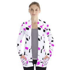 Magenta, black and white pattern Women s Open Front Pockets Cardigan(P194) by Valentinaart