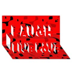Red And Black Pattern Laugh Live Love 3d Greeting Card (8x4) by Valentinaart