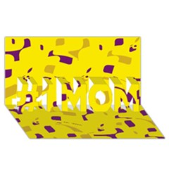 Yellow And Purple Pattern #1 Mom 3d Greeting Cards (8x4) by Valentinaart