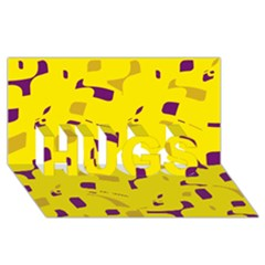 Yellow and purple pattern HUGS 3D Greeting Card (8x4) by Valentinaart